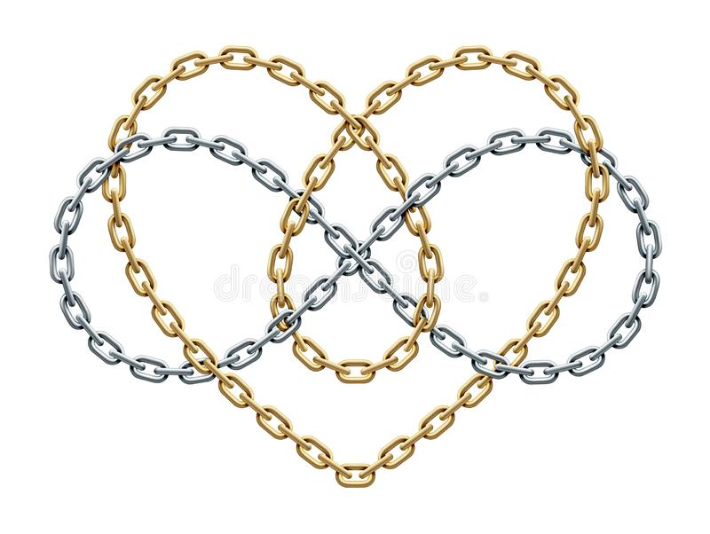 Heart with infinity symbol of gold and silver chains. Forever love sign. Vector illustration royalty free illustration
