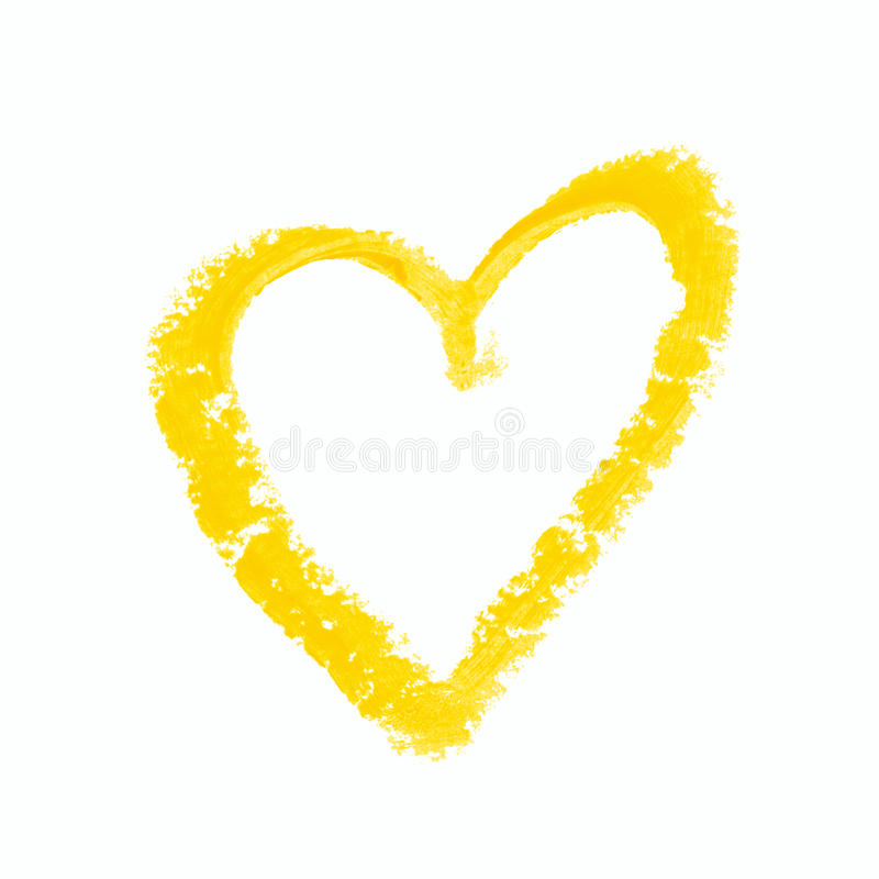 Heart shape isolated. Heart shape outline drawn with a wax crayon isolated over the white background royalty free stock images