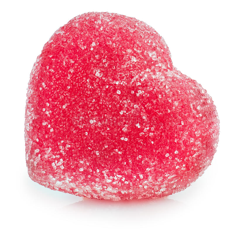 Heart shape jelly candy isolated on white. Red heart shape jelly candy isolated on white background royalty free stock photo