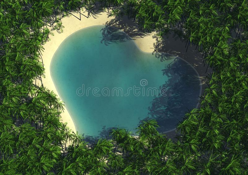 Heart shape lagoon. 3d computer image of an heart shape lagoon royalty free illustration