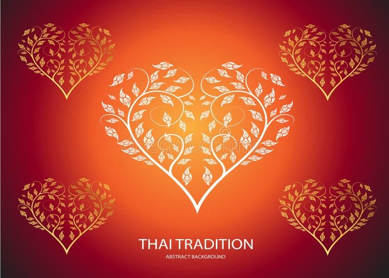 Heart shape leaf of thai tradition. Background stock illustration