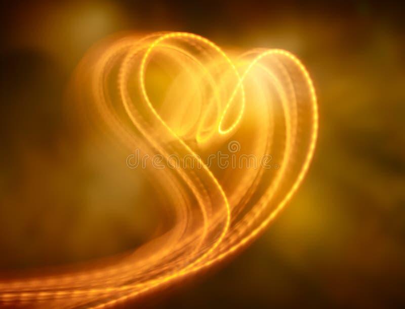 Heart shape light. Flowing light effect form into heart shape