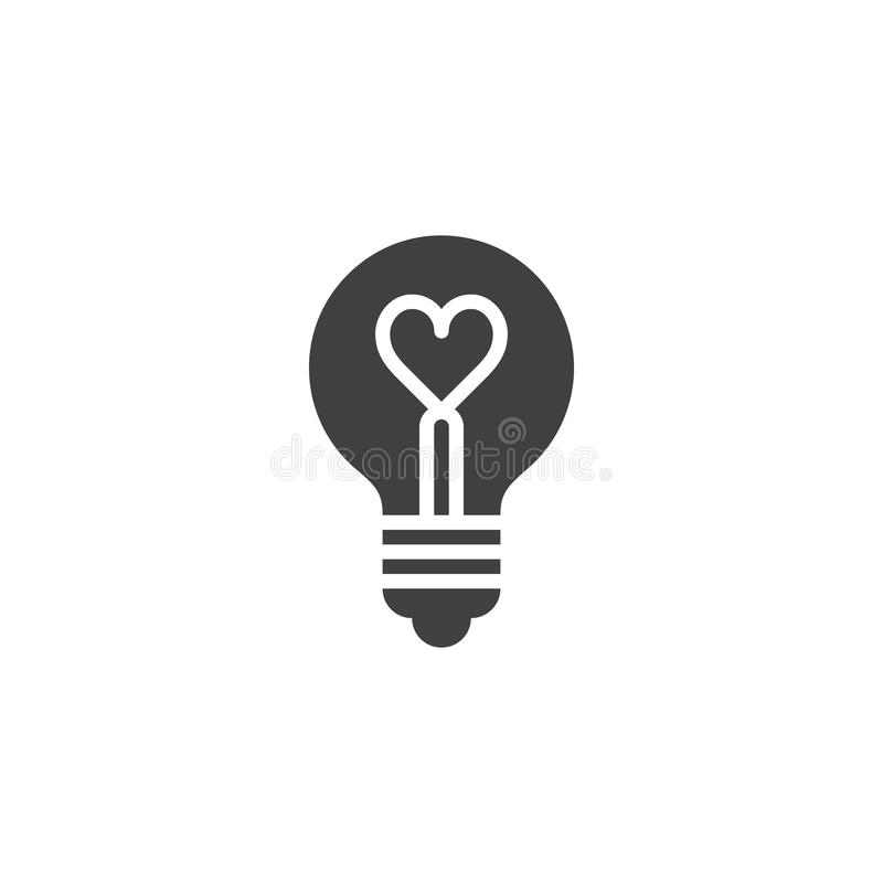 Heart shape in a light bulb icon vector royalty free illustration