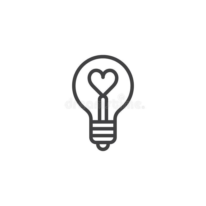 Heart shape in a light bulb line icon stock illustration