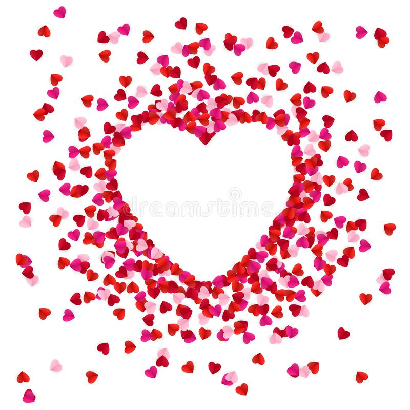 Heart shape lined with paper hearts. Happy Valentine`s Day greeting card background. Vector illustration.  stock illustration