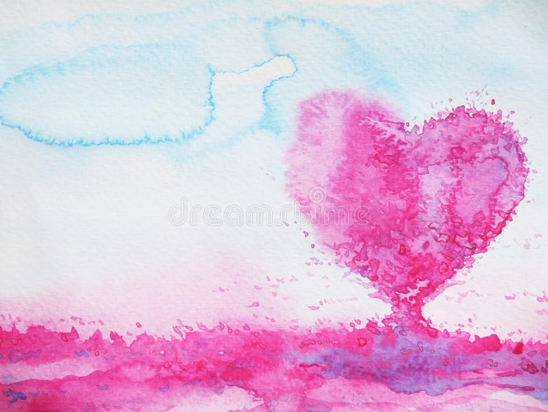 Heart shape love tree for wedding, valentines day, watercolor stock illustration