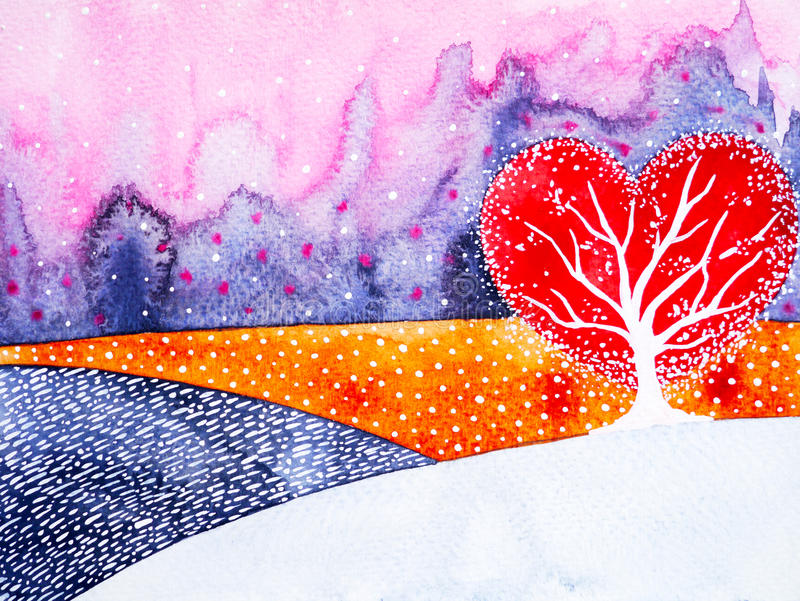 Heart shape love tree for wedding, valentines day, watercolor painting stock illustration
