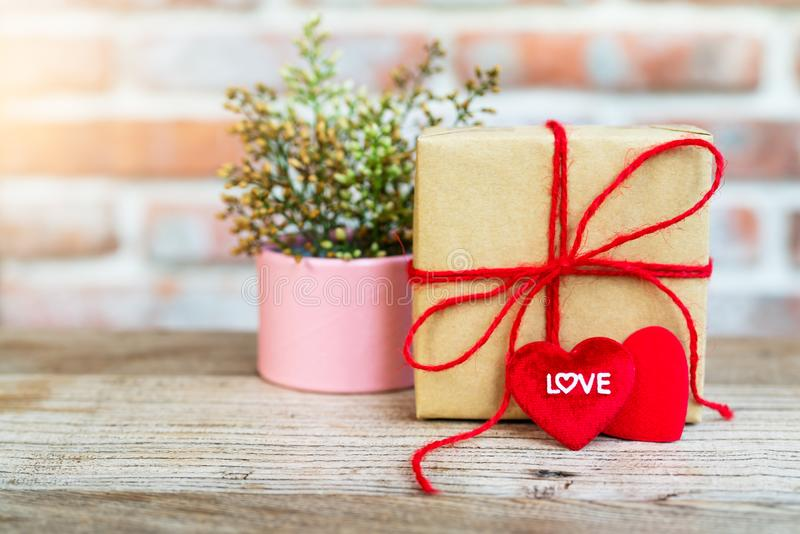 Heart shape with LOVE word, Gift box and flower, copy space for texting stock image