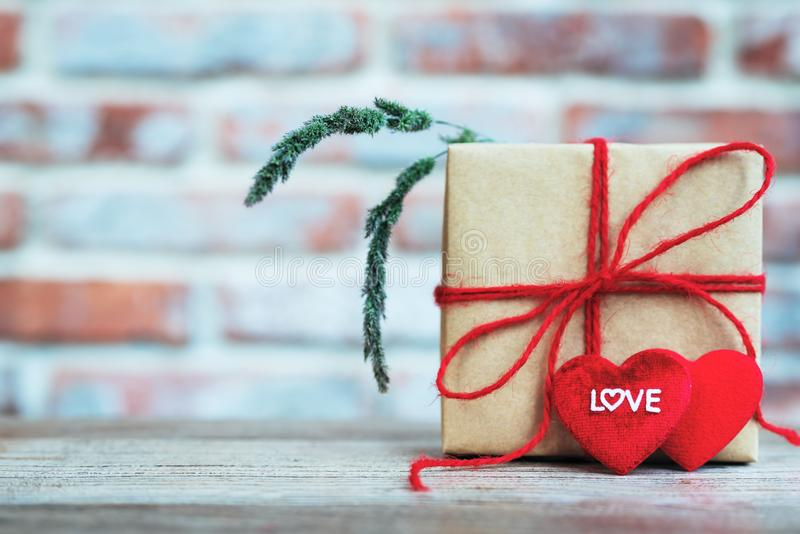 Heart shape with LOVE word, Gift box and flower, copy space for texting royalty free stock image
