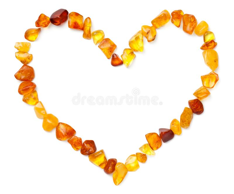 Heart Shape Made Of Amber Isolated stock photos