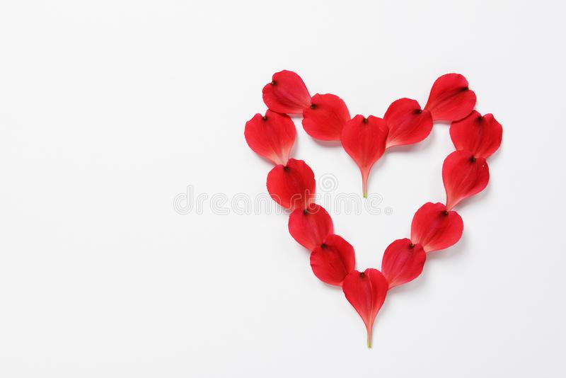 The heart shape made from red petals of flowers of Alstroemeria stock images