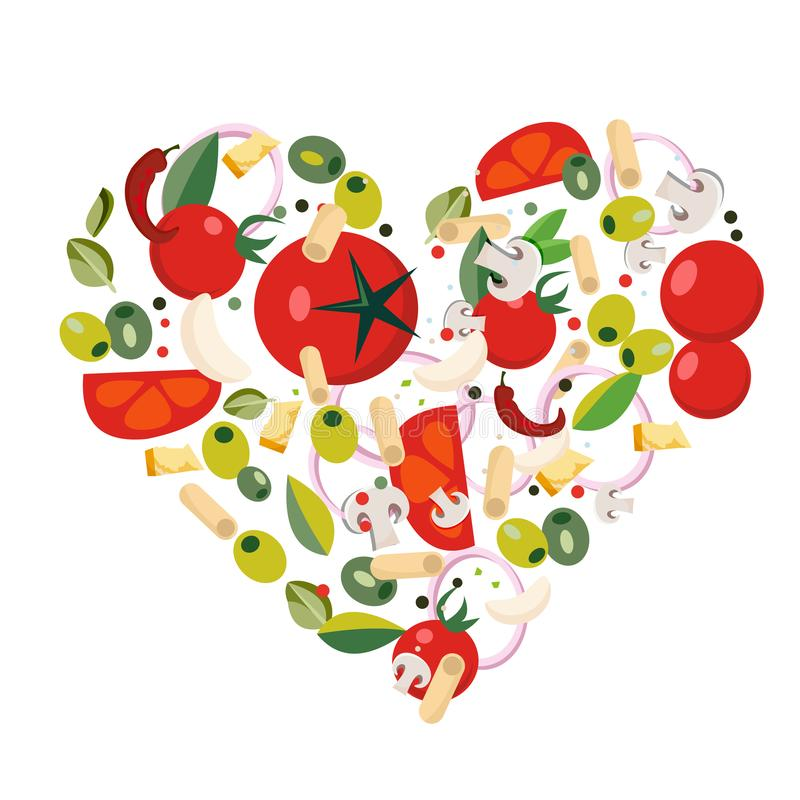 Heart shape with Mediterranean icons. Ingredients - tomato, olive, onion, pepper, mushroom, pasta, cheese,chili,garlic vector illustration