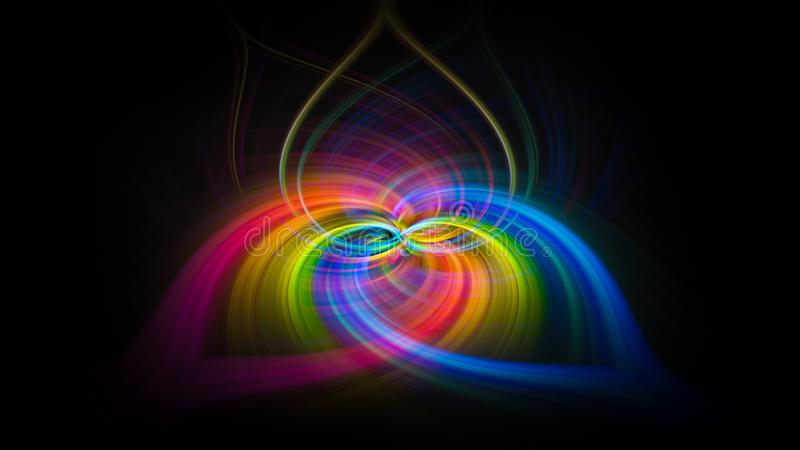 Heart shape multi colored vortex swirl spin background vector illustration