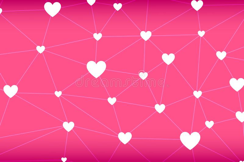 Heart-shape network abstract vector in pink background.  royalty free illustration