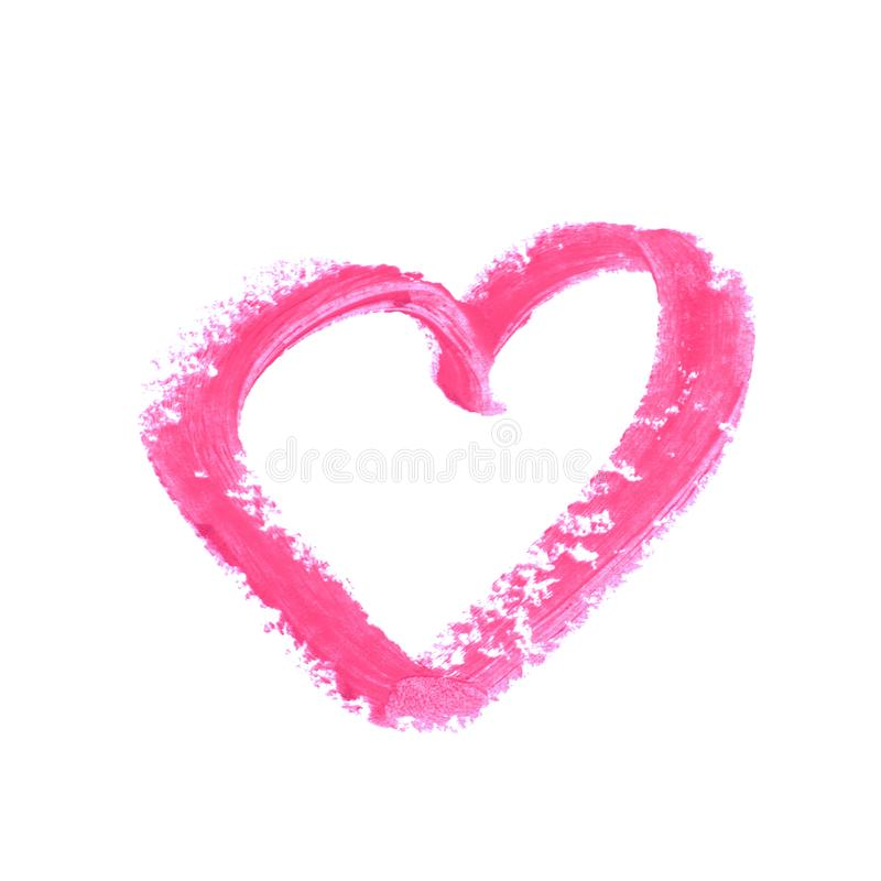Heart shape isolated. Heart shape outline drawn with a wax crayon isolated over the white background royalty free stock image