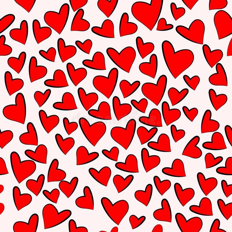 Red heart shape pattern random repeat vector background. Heart shape pattern hand drawing seamless random repeat vector background stock illustration