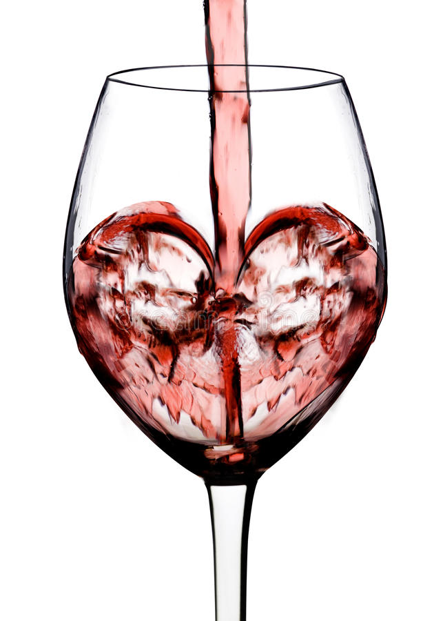 Heart shape from red wine. With white background stock images