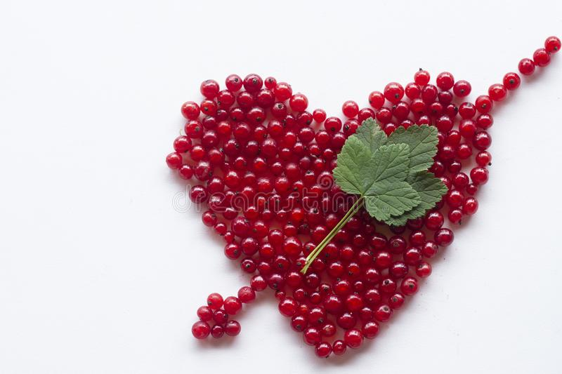 Heart shape from redcurrant. Love theme concept for Valentine`s background and love theme. royalty free stock photography