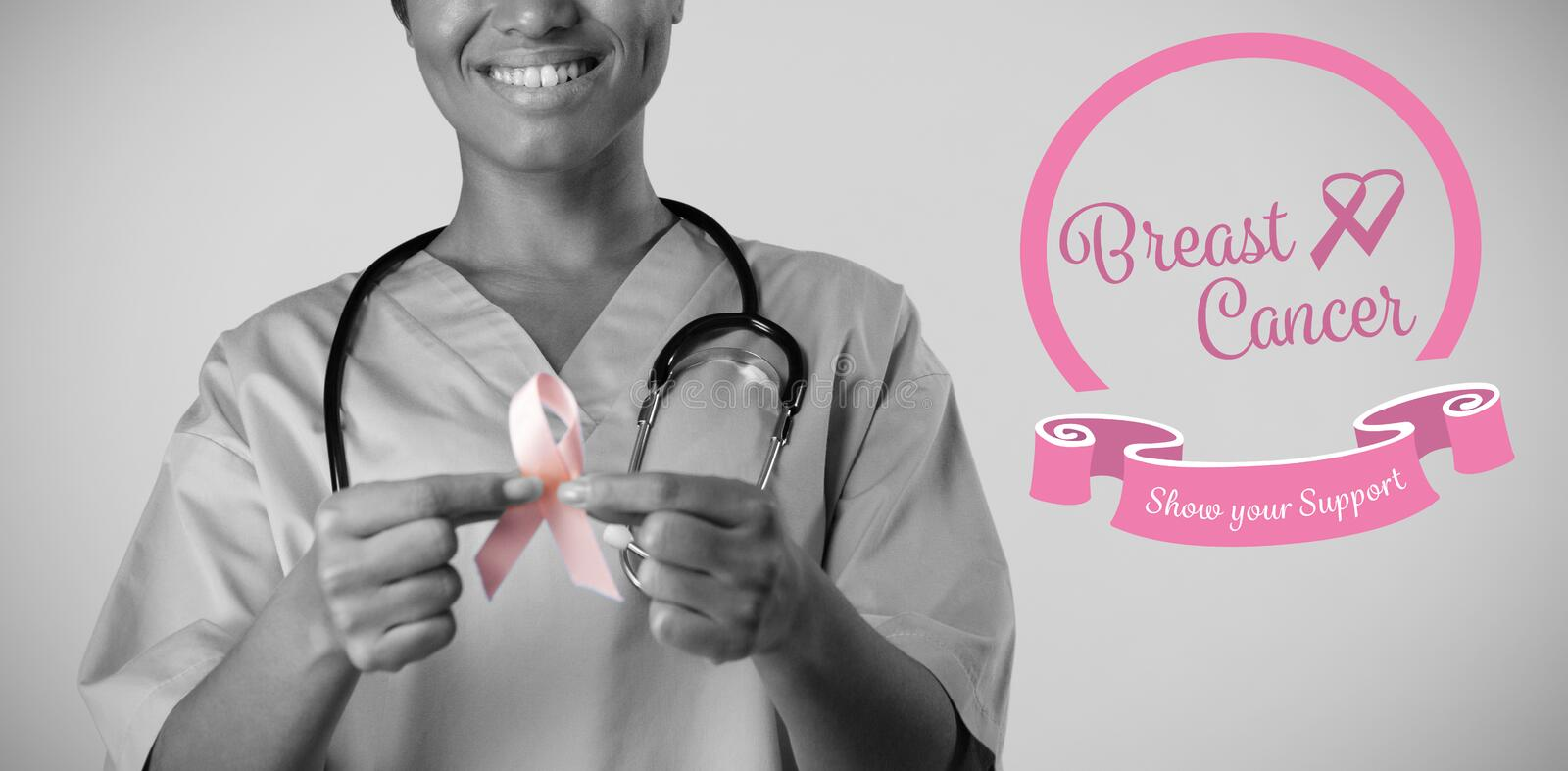 Composite image of heart shape ribbon with breast cancer text royalty free stock photos