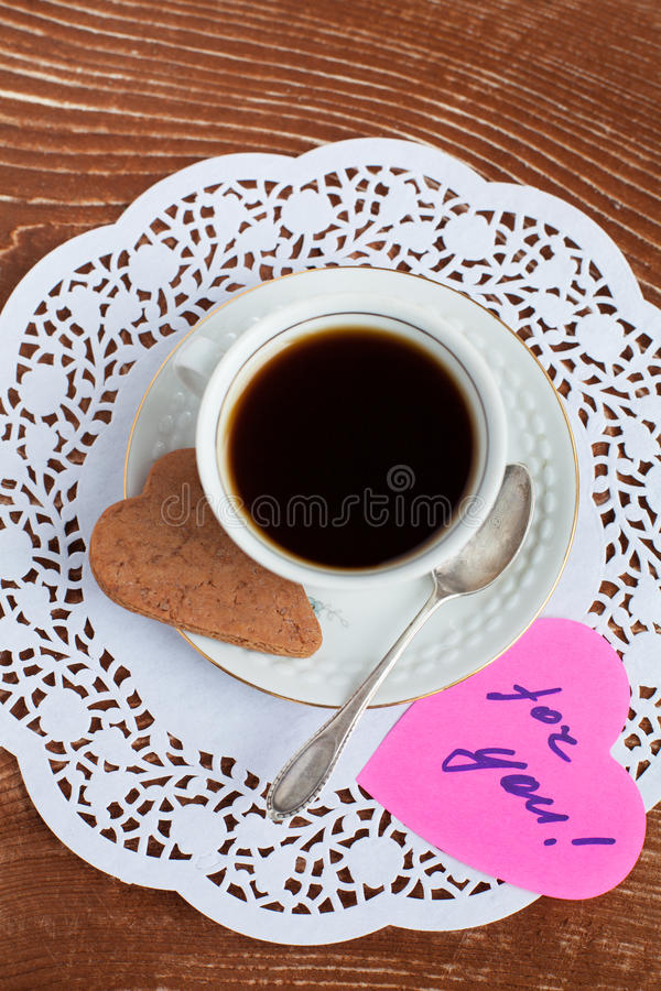 Download Heart Shape Saint Valentine's Cookie With Cup Of Coffee Royalty Free Stock Image - Image: 28455596