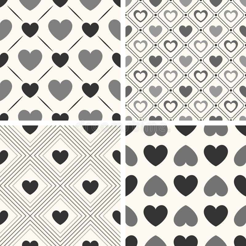 Heart shape seamless patterns. Black and white. Colors. Endless texture can be used for printing onto fabric, paper or scrap booking. Valentines day background royalty free illustration