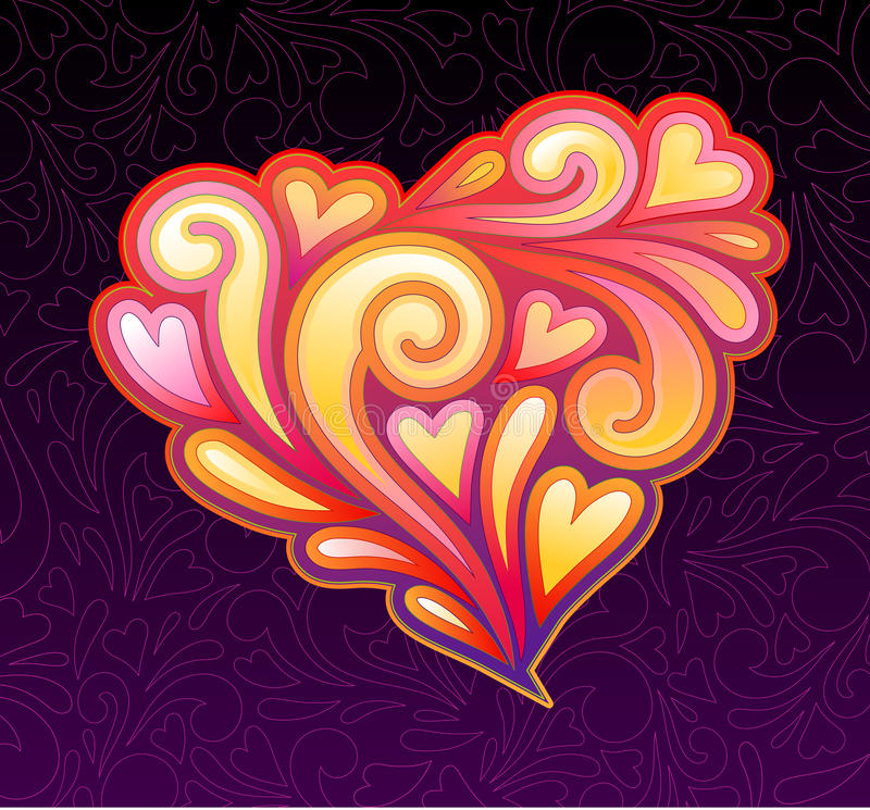 Heart shape with swirls royalty free illustration