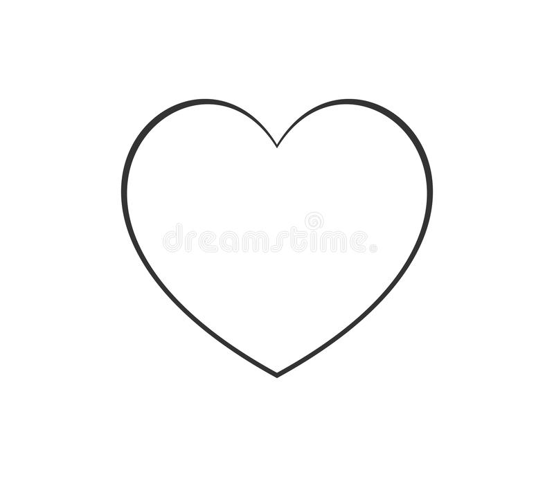 Heart shape thin line icon logo. Linear vector symbol on white background royalty free illustration