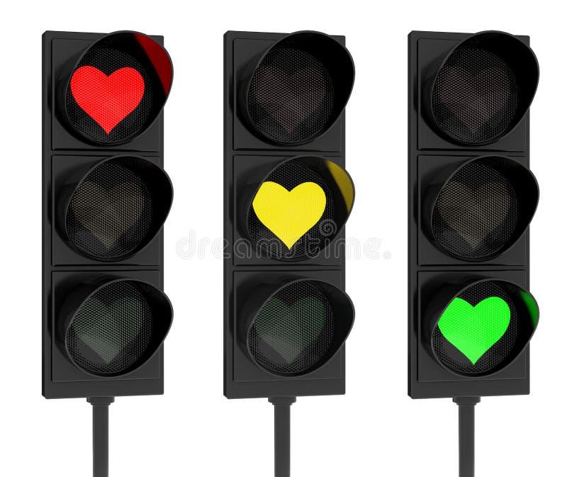 Heart shape traffic lights. 3d render of heart shaped traffic lights on white background royalty free illustration