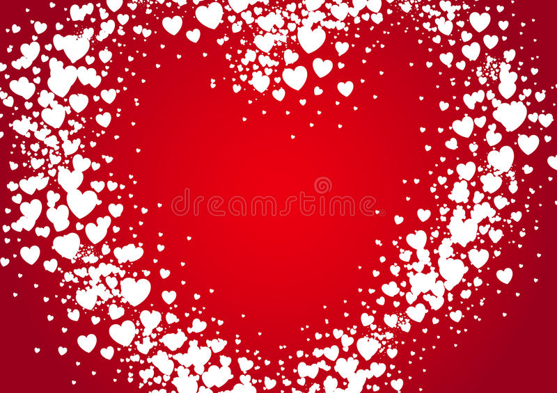 Heart shape Valentines Day card spray painted with random scatter hears vector illustration