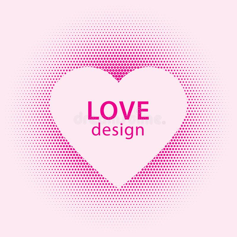 Heart shape vector pink dots splash with white heart frame inside stock photo