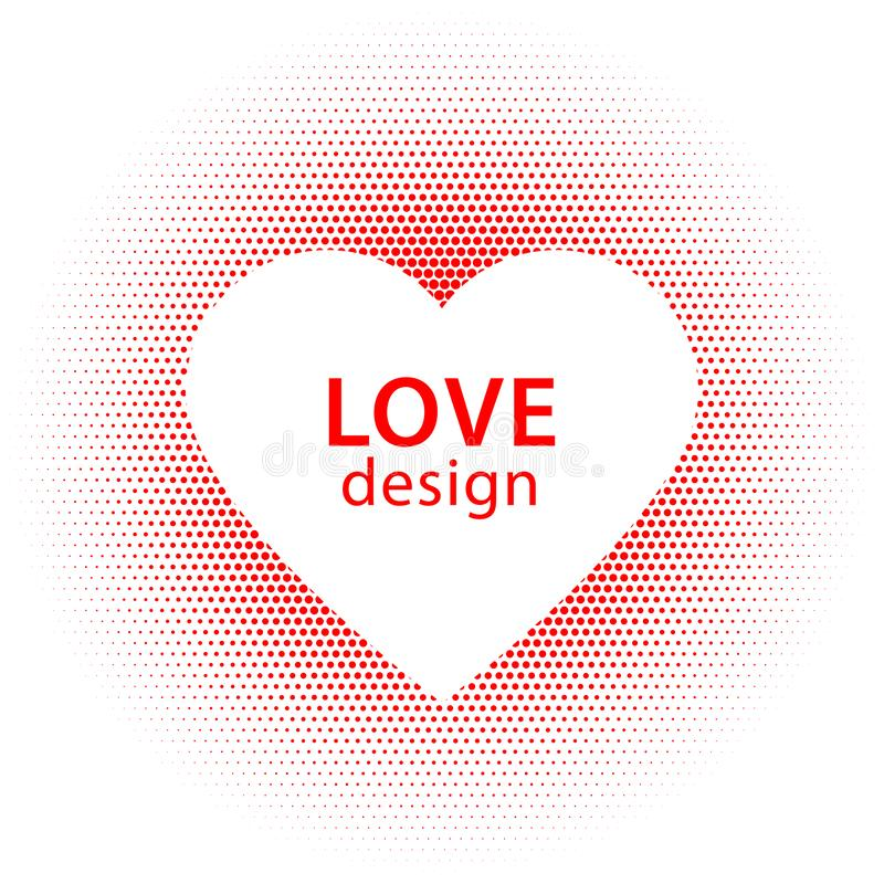 Heart shape vector red dots splash with white heart frame inside stock image