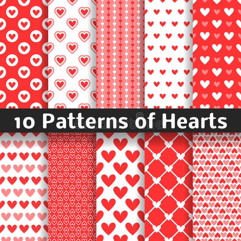 Free Heart Shape Vector Seamless Patterns. Red Color Stock Photo - 60470530