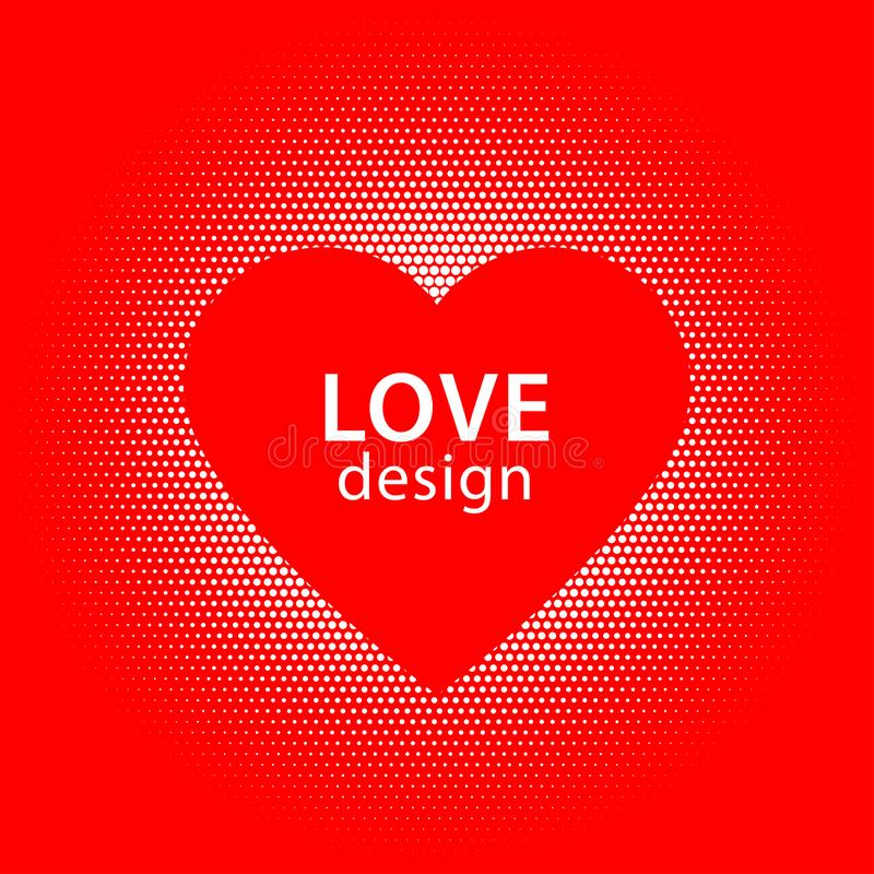 Heart shape vector white dots splash with red heart frame inside stock images