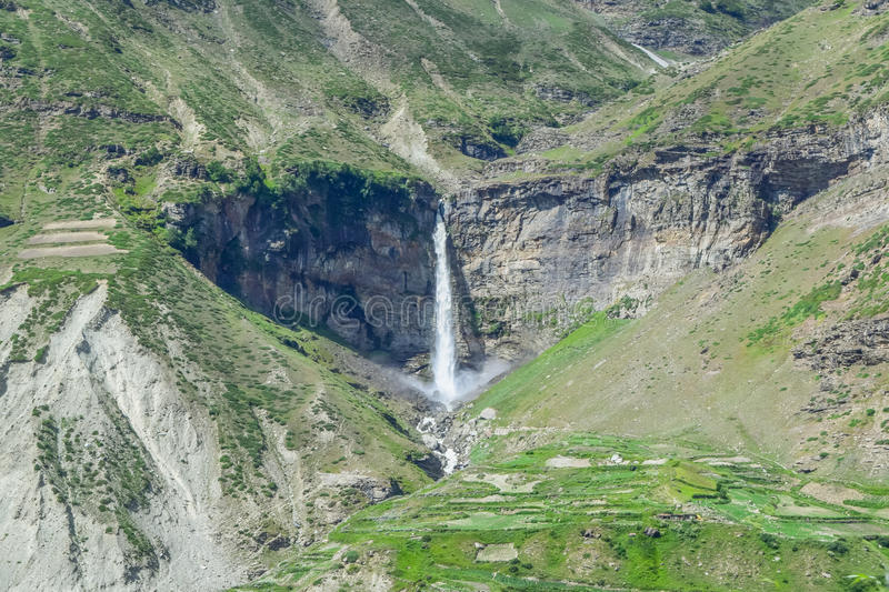 Heart shape waterfall in spiti valley of Himachal pradesh. Waterfall can be seen on the Leh Manali highway. Situated in Sissu a small town in spiti valley of royalty free stock images