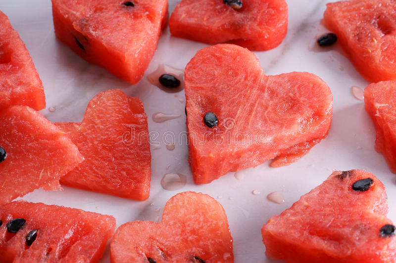 Heart shape watermelon stock images
