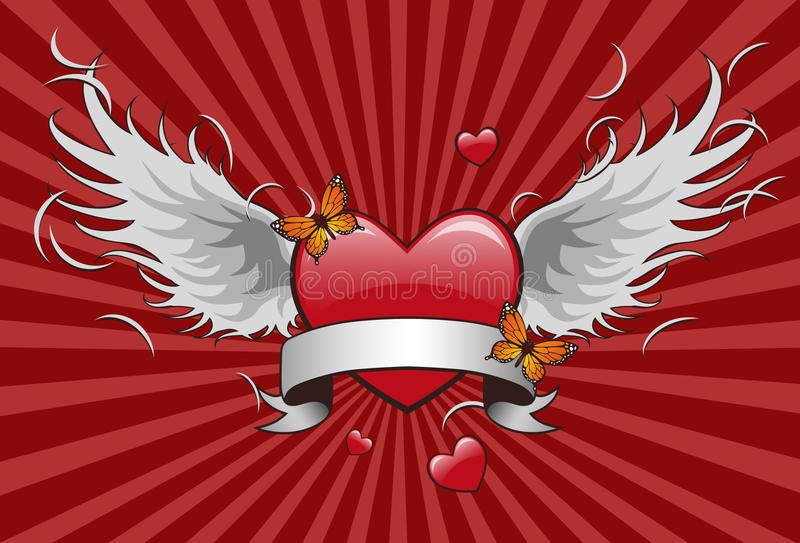 Heart Shape With Wing Royalty Free Stock Photo