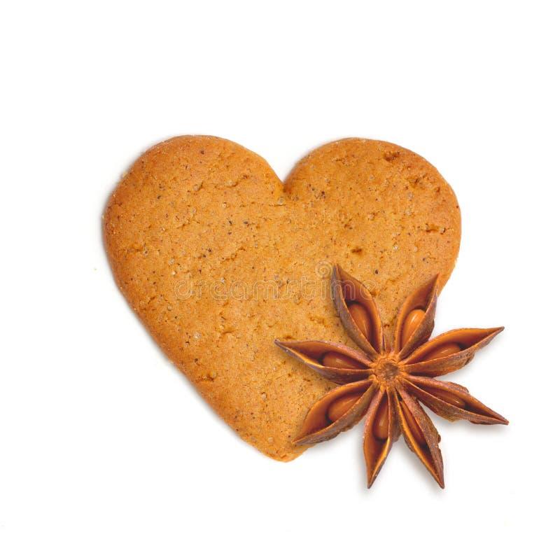 Heart Shape Xmas Cake With Spice Anis Royalty Free Stock Photo