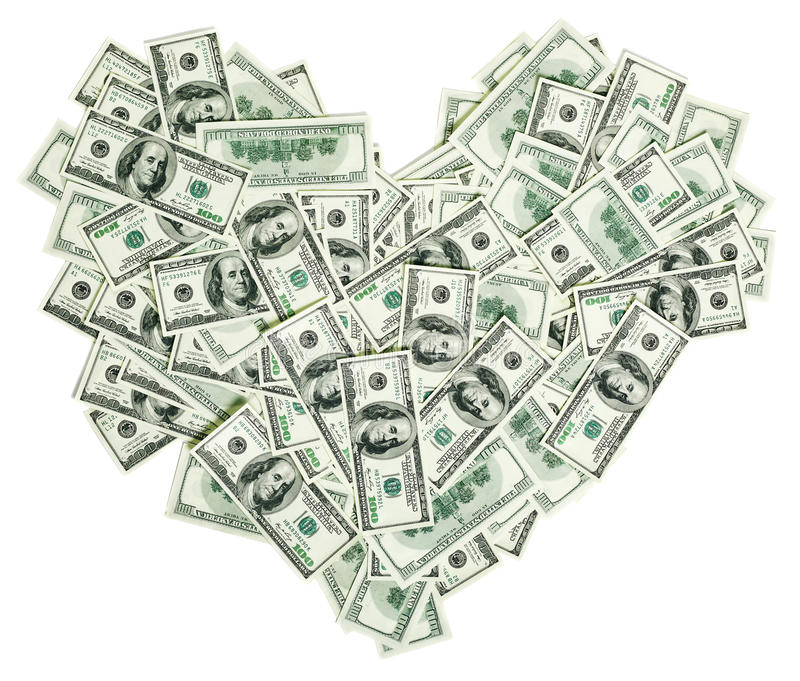 Heart shaped with 100 dollar banknotes royalty free stock photos