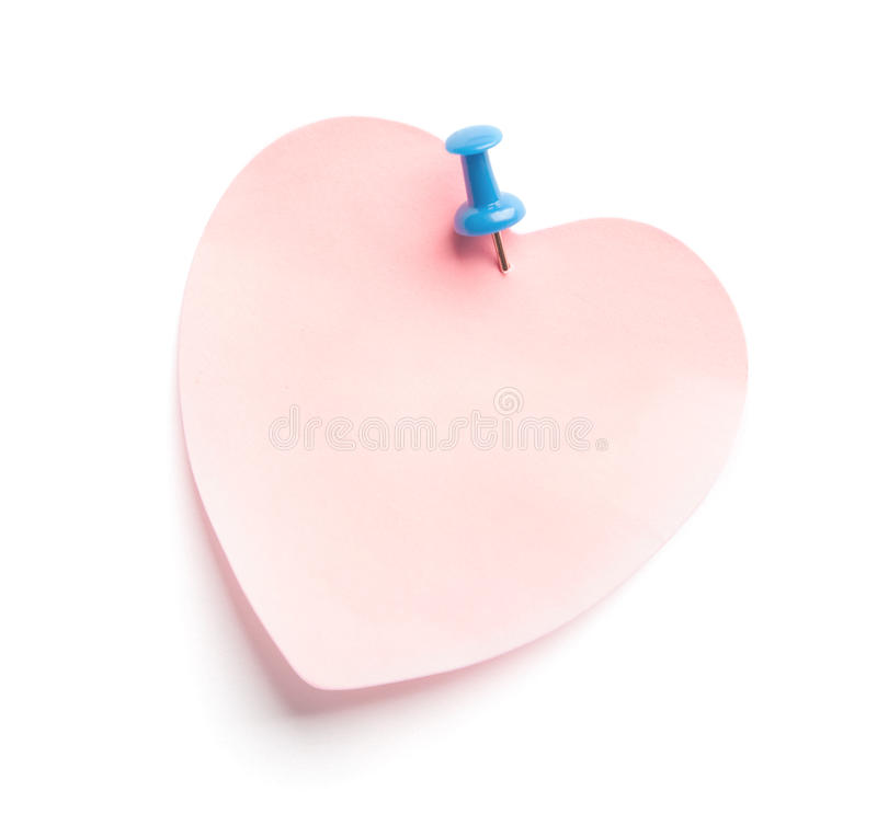 Heart-shaped adhesive note stock photo
