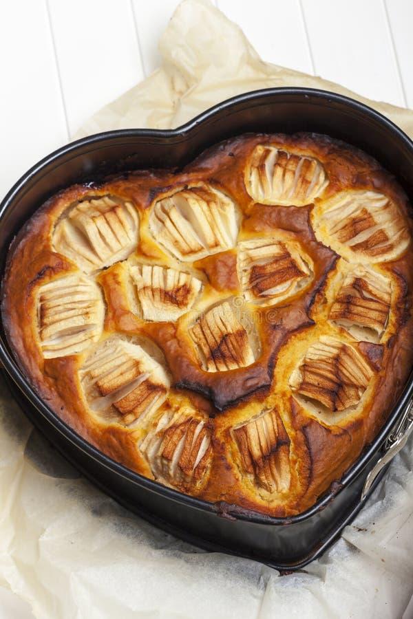 Heart shaped apple pie royalty free stock photo