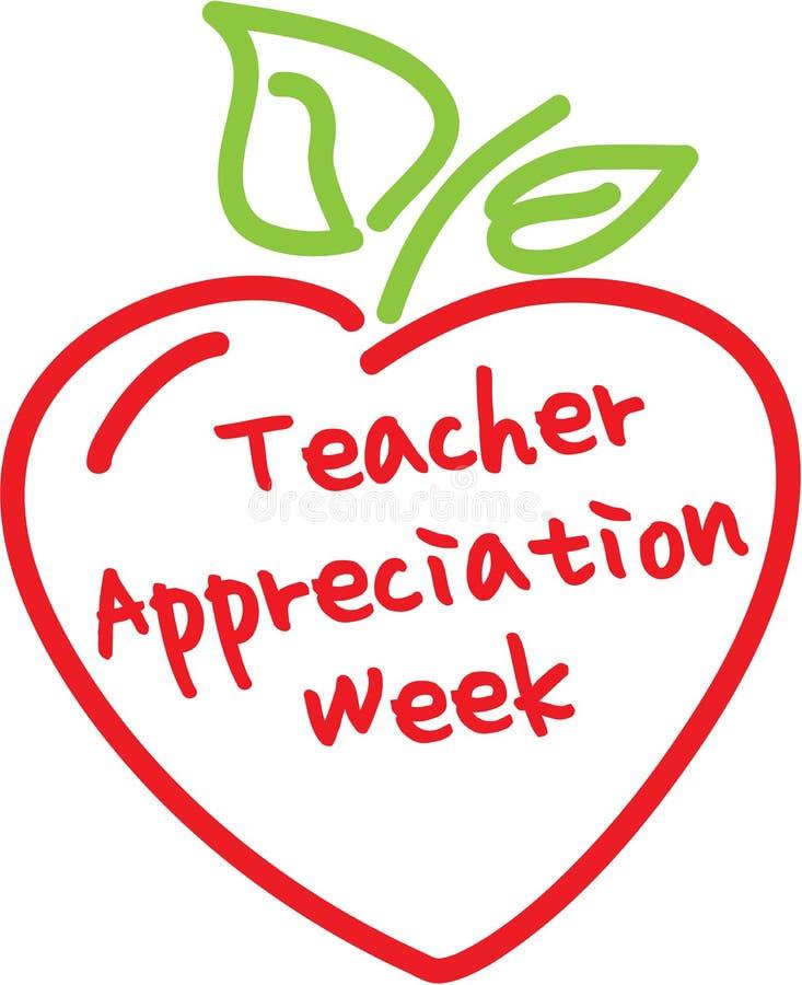 teacher appreciation week apple heart stock illustration