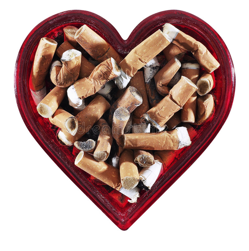 Heart Shaped Ashtray. Hand made clipping path included royalty free stock photography