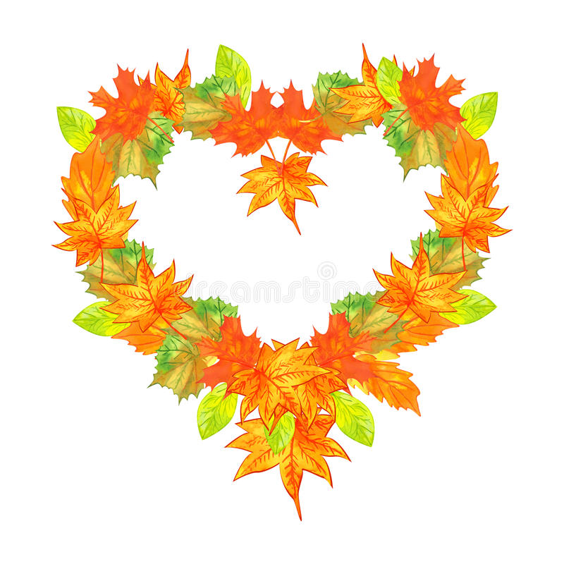 Heart shaped autumn leaves stock photo