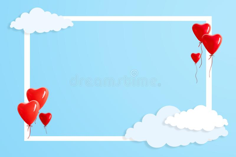 Heart shaped balloons with beautiful aerial clouds on blue backg stock illustration