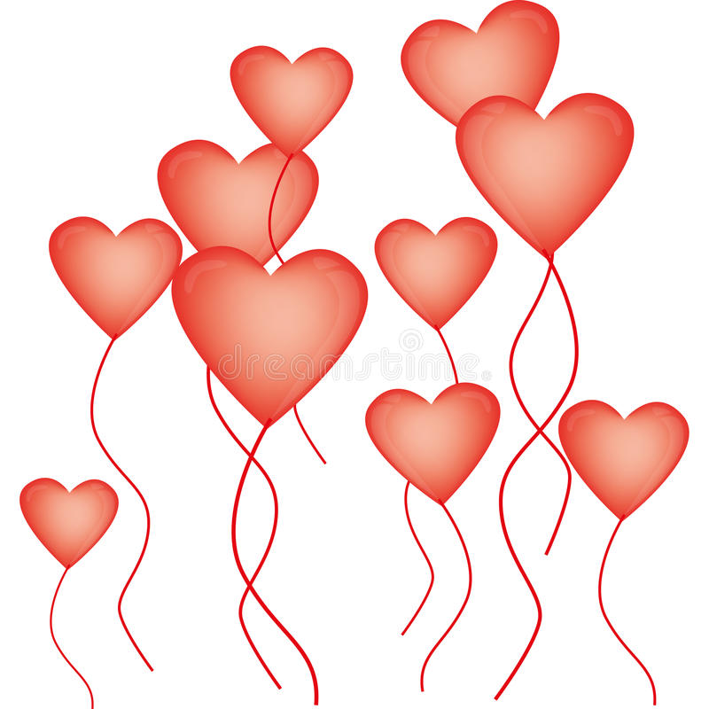 Heart-shaped balloons for Valentine's Day royalty free illustration