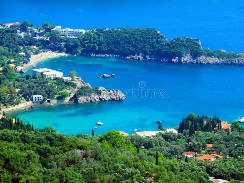 Heart-shaped bay, romantic, Paleokastrica beach on Corfu Kerkyra, Greece. Ionian sea. Bay with crystal clear azur water. stock photos