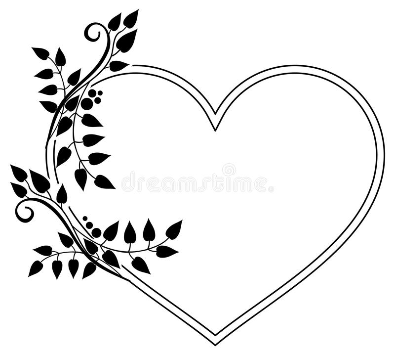 heart shaped black and white frame with floral silhouettes raster rh dreamstime com heart outline black and white clipart heart border black and white clipart