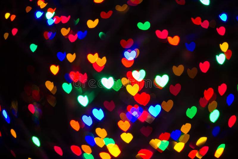 Bokeh Heart Shape Of Light Background Stock Footage Video: Heart Shaped Bokeh Holiday Lights Background Stock Image