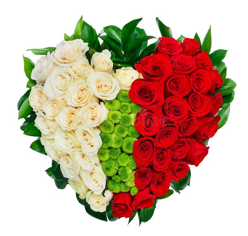 Heart shaped bouquet of red roses royalty free stock photography