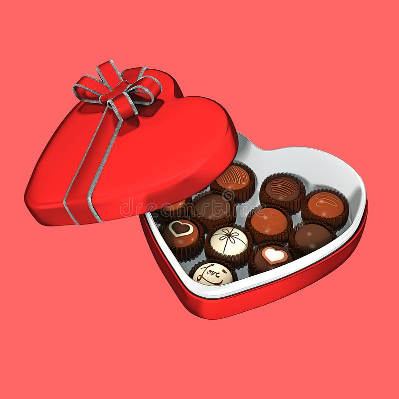 Heart Shaped Box of Chocolates Graphic Style stock illustration